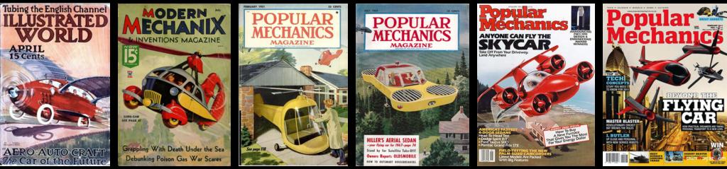 Magazines parlant de voitures volantes, des années 1930 aux années 2010