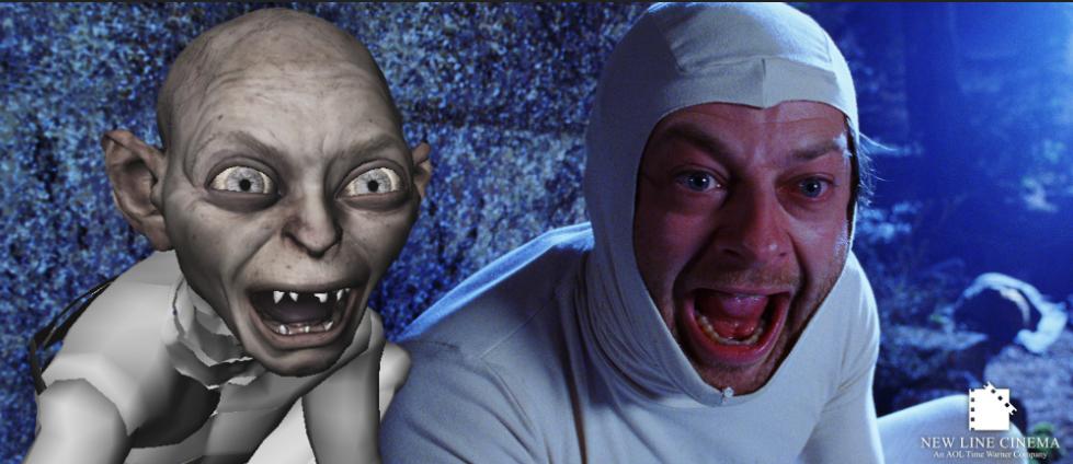 Andy Serkis jouant Gollum dans le Seigneur des anneaux