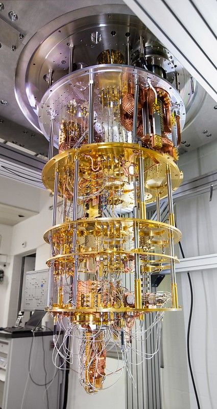 Quantum computer based on superconducting qubits. The device shown here will be inserted into a dilution refrigerator and cooled to a temperature less than 1 kelvin. This part was built at IBM Research in Zurich in collaboration with IBM Thomas J. Watson Research Center in Yorktown Heights, USA. 28 September 2017 – IBM Zurich Lab